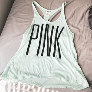 PINK By VS Mint Racerback Tank With Lace Sides